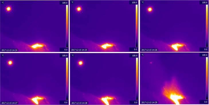 immagine termica esplosione vulcano